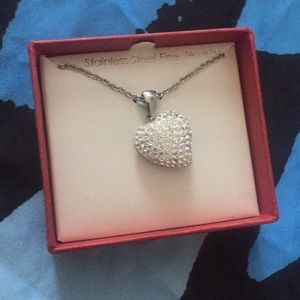 Stainless steal with crystals heart necklace